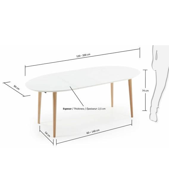 Išskleidžiamas stalas OAKLAND 120(200)x90 cm