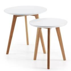 Šoninių staliukų komplektas BRICK Ø50 (2vnt.) baltas