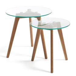 Šoninių staliukų komplektas BRICK Ø50 (2vnt.) skaidrus stiklas