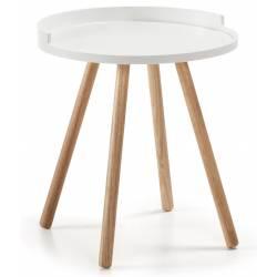 Šoninis staliukas BRUK Ø46 baltas