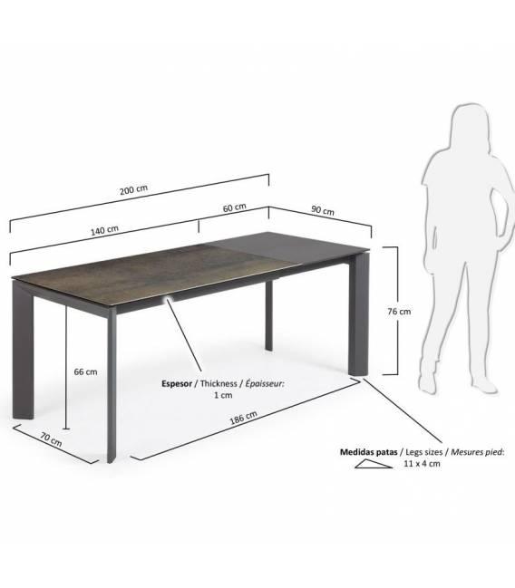 Išskleidžiamas stalas ATTA 140(200)x90 IRON MOSS