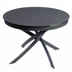 Išskleidžiamas stalas FIORE Ø110(155)x75 tamsiai pilkas