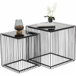 Kavos staliukai WIRE SQUARE (2 vnt.) juodi