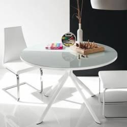 Apvalus išskleidžiamas stalas GIOVE Ø120(165) baltas