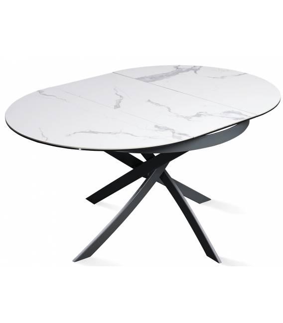 Išskleidžiamas stalas FIORE Ø110(155)x75 baltas