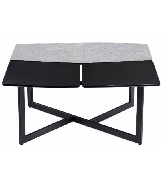Kavos staliukas TITO 90x88 šviesiai pilkas su rudu