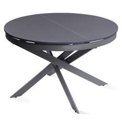 Išskleidžiamas stalas GENERO Ø120(170)x76 tamsiai pilkas