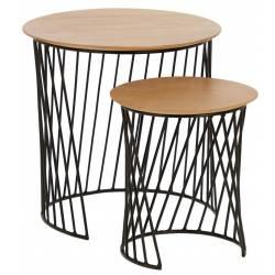 Šoninių staliukų komplektas LESKA rudi Ø 50 / Ø 35 (2vnt.)