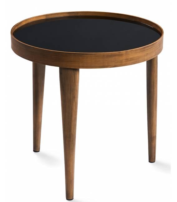 Šoninis staliukas BRIO Ø50 juodas stiklas