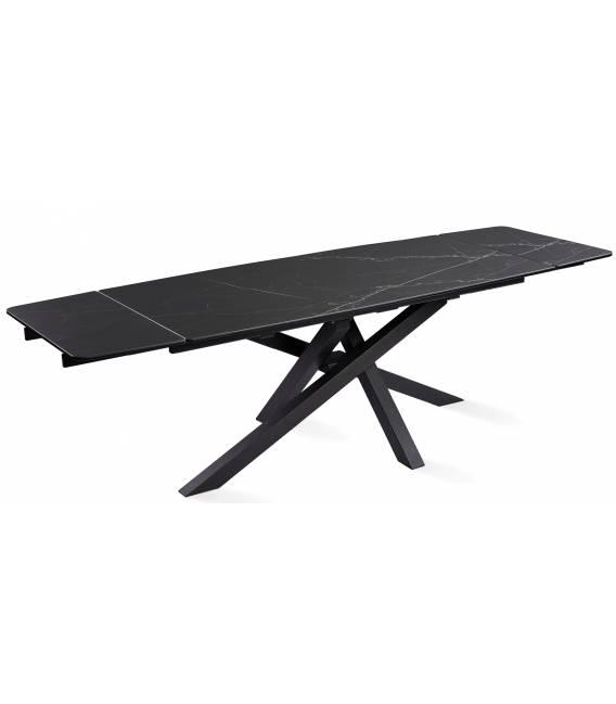 Išskleidžiamas stalas ARTISTICO 180(260)x90x75 juodas su baltu