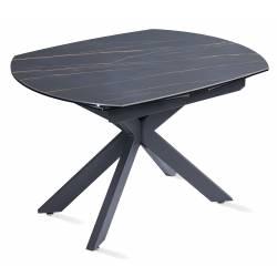 Išskleidžiamas stalas TORRE 120(178)x90x78 juodas su rudu