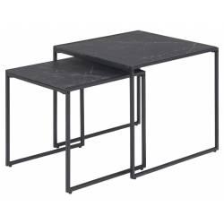 Šoninių staliukų komplektas 88559 juodo marmuro
