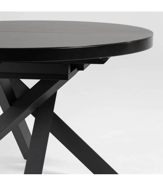 Išskleidžiamas apvalus stalas VASHTI Ø120(160) juodas