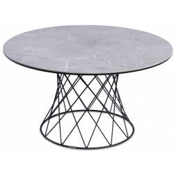Kavos staliukas ELLA Ø80 šviesiai pilkas su rudu