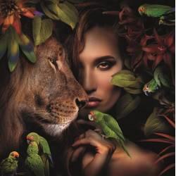 Paveikslas WOMAN WITH LION 120x120
