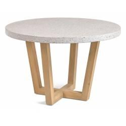 Apvalus stalas SHANELLE Ø120 akmens masės/baltas