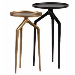 Šoninių staliukų komplektas MOSQUITO juodas metalas/antikinis (2 vnt.)