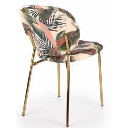 Kėdė AVELA šviesiai gelėta/ auksinės kojelės