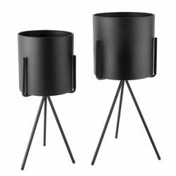 Vazonas PEDESTAL XL matinė juodai (2 vnt.)