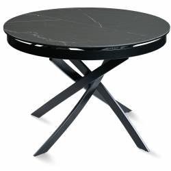 Išskleidžiamas stalas FIORE Ø110(155)x75 juodai margas