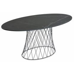 Ovalus stalas DAGMAR 179x89 juodai margas
