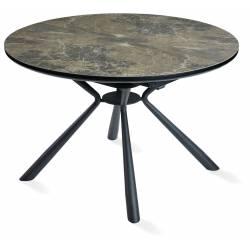 Išskleidžiamas stalas FLAVIO Ø120(160) rudai margas